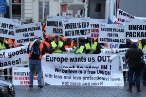 Brüksel'de taşımacıların protestosu