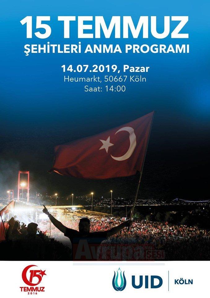 """UID Köln bölgesi """"15 TEMMUZ ŞEHİTLERİ ANMA"""" programını"""